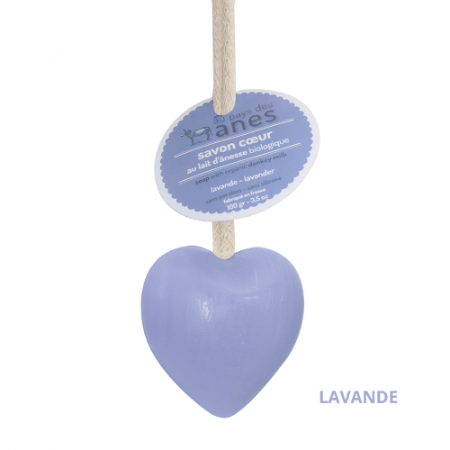 Мыло на льняном шнурке в форме сердца Лаванда